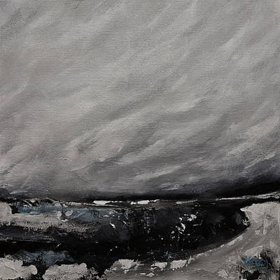 Painting - Desolation Abstract Contemporary Seascape Landscape Painting On Stretched Canvas by Gray  Artus