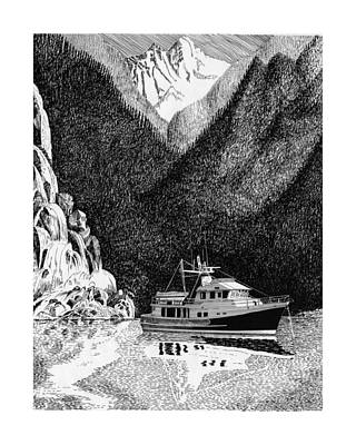 Alaska Drawing - Anchored Safe Chatterbox Falls, British Columbia Inside Passage by Jack Pumphrey