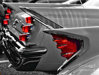 Art Dealer Photograph - Desoto Red Tail Lights In Black And White by Paul Ward