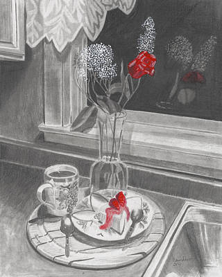 Drawing - Dessert For Two by Susan Schmitz