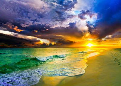 Art Print featuring the photograph Destin Florida-purple Sunset Over The Beach Art Prints by eSzra