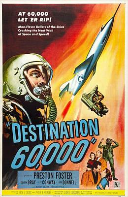 1957 Movies Photograph - Destination 60,000, Us Poster, Preston by Everett