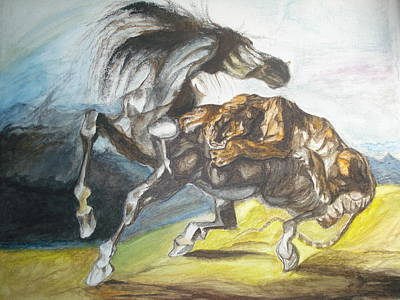 Tiger Attacks An Wild Horse Painting - Destiny by Prasenjit Dhar