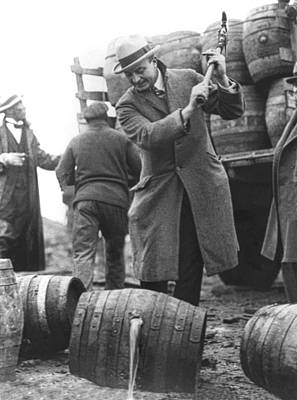 Day-time Photograph - Destroying Barrels Of Beer by Underwood Archives