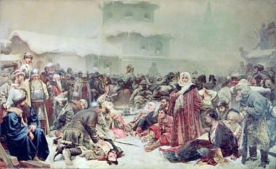 Destruction Of Novgorod By Tsar Ivan IIi 1440-1505 1889 Oil On Canvas Art Print