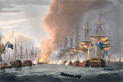 Destruction Drawing - Destruction Of The Danish Fleet by Thomas Whitcombe