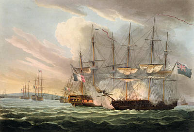 Destruction Of The French Fleet Art Print by Thomas Whitcombe