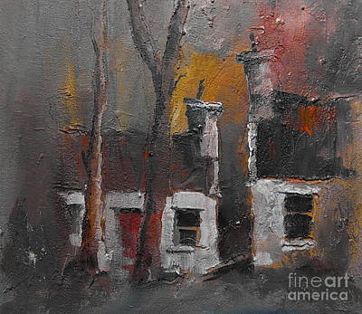 Painting - Detached Cottages Dusk by Val Byrne