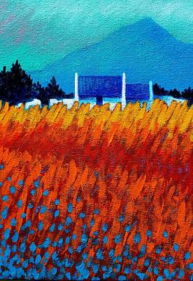 Poppies Field Painting - Detail From Golden Wheat Field by John  Nolan