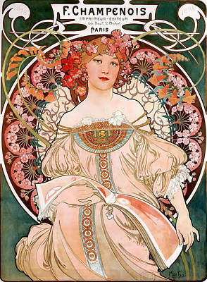 Champagne Painting - Detail From Mucha Champenoise Poster by Philip Ralley