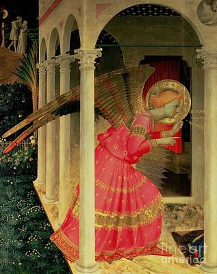 Archangel Painting - Detail From The Annunciation Showing The Angel Gabriel by Fra Angelico