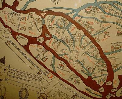 Detail From The Left Lower Portion Of Hereford Mappa Mundi 1300  Art Print by L Brown