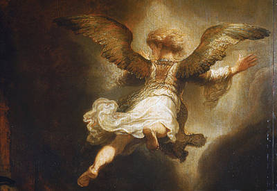 Painting - Detail Of Angel Raphael Leaving Tobit And His Family by Celestial Images