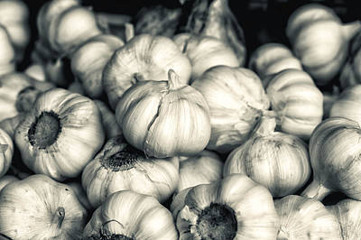 Photograph - Detail Of Garlic In Black And White by Francesco Rizzato