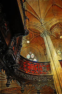 Movies Star Paintings - Detail of Interior of Gothic Revival Chapel. Streets of Dublin.Gothic Collection by Jenny Rainbow