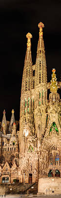 Photograph - Detail Of La Sagrada Familia At Night - Gaudi by Weston Westmoreland