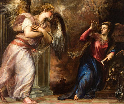 Detail Of The Annunciation Art Print by Titian