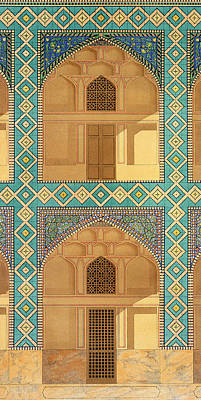 Africa Tiles Drawing - Detail Of The Courtyard Arcades by Pascal Xavier Coste