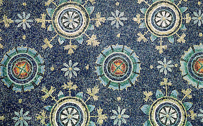 Detail Of The Floral Decoration From The Vault Mosaic Art Print by Byzantine