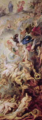 Religious Art Painting - Detail Of The Last Judgement by Rubens