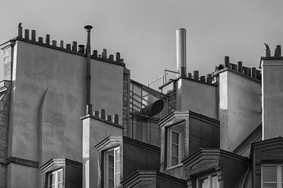 Photograph - Detail Of Traditional Rooftops In Paris. Black And White by Francesco Rizzato