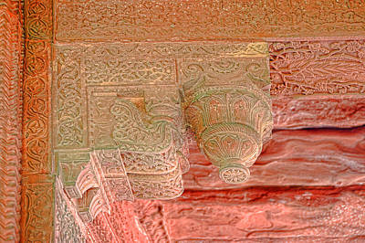 Peaches Corner Photograph - Detailed Ceiling Support At Fatepur Sikri Palace by Linda Phelps