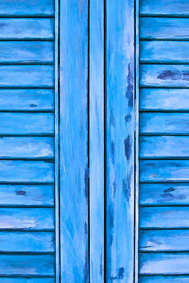 Photograph - Detailed Faded Blue Window Shutter by David Letts
