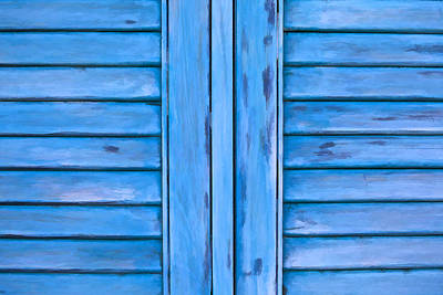 Photograph - Detailed Faded Blue Window Shutter II by David Letts