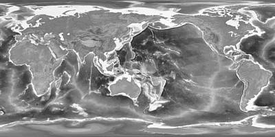 Detailed Geographic World Map Black And White Art Print