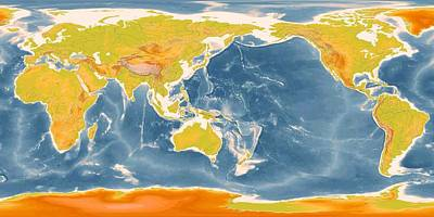 Detailed World Geographic Map Enhanced II   Art Print