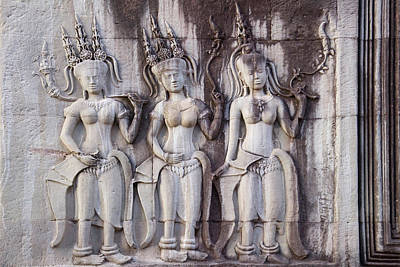 Reliefs Photograph - Details Of Relief At Angkor Wat by Keren Su