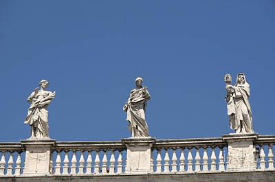 Vatican Photograph - Details Of Statues On Saint Peter's Basilica. Vatican City. Rome. Lazio. Italy. Europe  by Bernard Jaubert