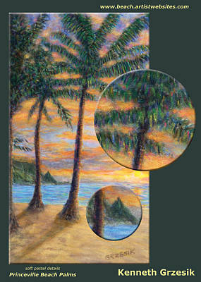 Details Princeville Beach Palms Original by Kenneth Grzesik