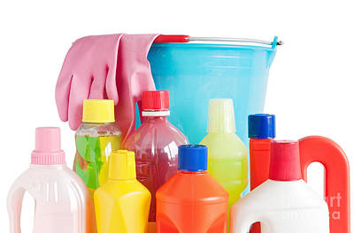 Detergent Bottles And Bucket Art Print by Antonio Scarpi