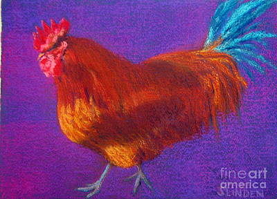 Determined Rooster Art Print by Sandy Linden