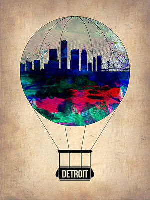 City Skyline Wall Art - Painting - Detroit Air Balloon by Naxart Studio