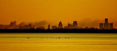Detroit At Dawn Art Print