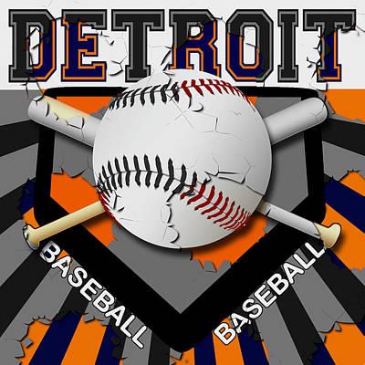 Detroit Baseball  Art Print by David G Paul