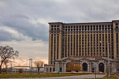 Detroit Central Station And Ambassador Bridge  Art Print