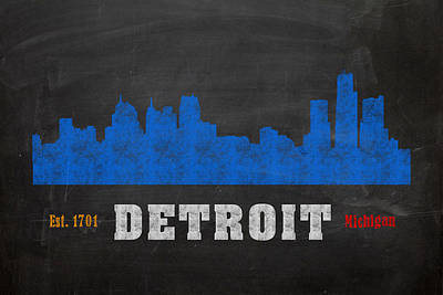 Skyline Mixed Media - Detroit City Skyline Chalkboard Chalk Art by Design Turnpike