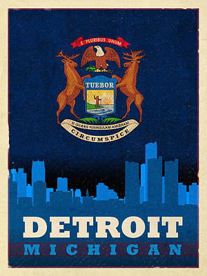 City Skyline Mixed Media - Detroit City Skyline Flag Of Michigan Art Poster Series 001 by Design Turnpike