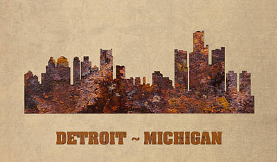 Skyline Mixed Media - Detroit City Skyline Rusty Metal Shape On Canvas by Design Turnpike