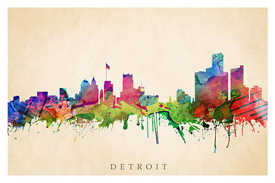 Digital Art - Detroit Cityscape by Steve Will