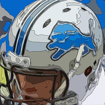 Gridiron Digital Art - Detroit Lions Comic Style Helmet Abstract 1 by David G Paul
