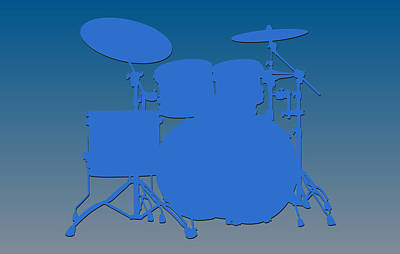 Detroit Lions Drum Set Print by Joe Hamilton