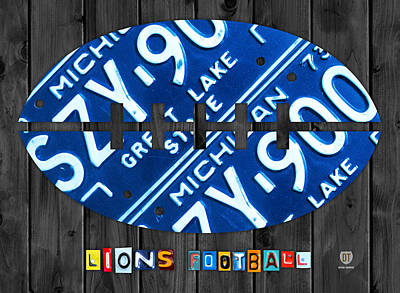 Lions Mixed Media - Detroit Lions Football Vintage License Plate Art by Design Turnpike