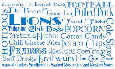Digital Art - Detroit Lions Game Day Food 1 by Andee Design