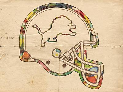 Lions Painting - Detroit Lions Helmet Art by Florian Rodarte