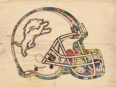 Detroit Lions Helmet Vintage Print by Florian Rodarte