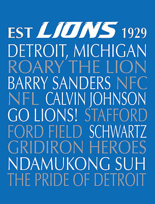 Digital Art - Detroit Lions by Jaime Friedman